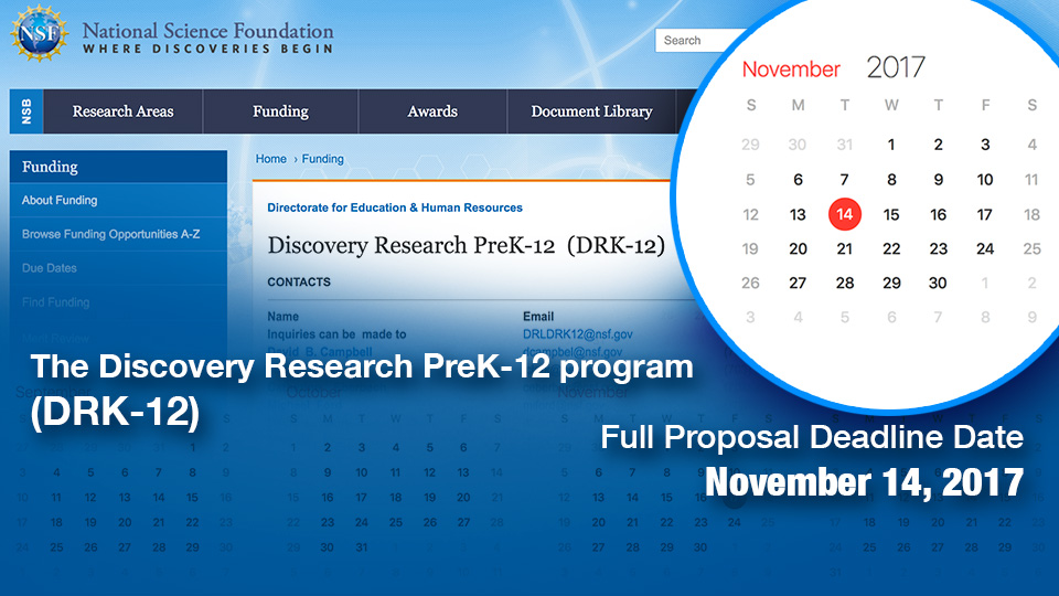 Image for NSF Due Date for 2017 DRK-12 Grant Proposals